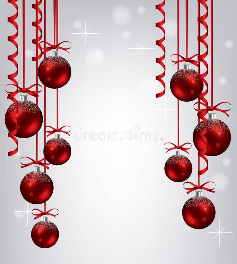 Sammlung des neuen Jahres des Hängens roten Weihnachten b lizenzfreie abbildung