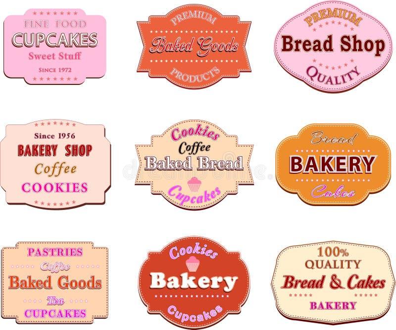 Sammlung des Retro- Bäckereilogos der Weinlese wird und Aufkleber deutlich stock abbildung