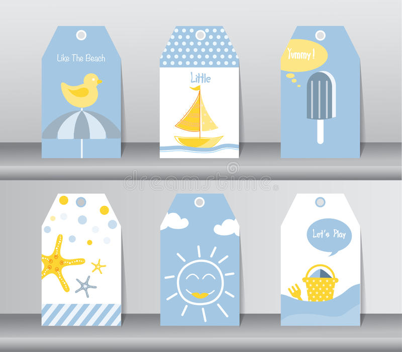Sammlung des Sommers, des Feiertags, des Ferienplakatsatzes, des flachen Designs, des Gebrauches für den Gruß und der Einladungsk stock abbildung