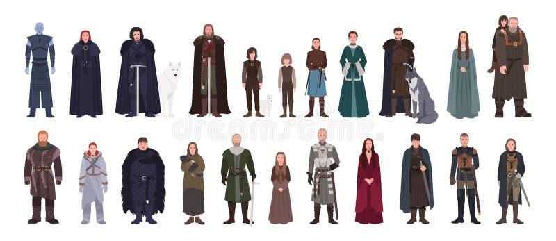Sammlung des Spiels der Throne Roman und der Fernsehserie fiktiver Mann und weibliche Figuren oder Männer und Frauen kleidete her lizenzfreie abbildung