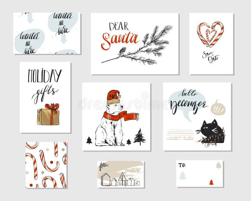 Sammlung des unterschiedlichen handgemachten Vektorzusammenfassung Gruß-Kartensatzes froher Weihnachten mit Eisbären, Zuckerstang lizenzfreie abbildung