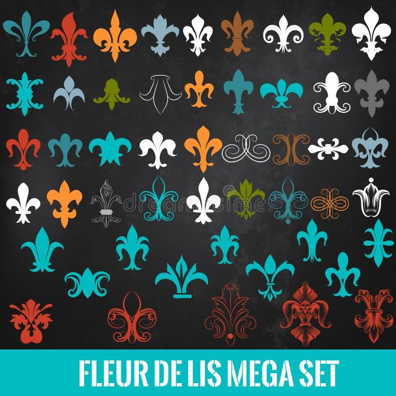 Sammlung des Vektors königlicher Fleur de Lis für Design vektor abbildung