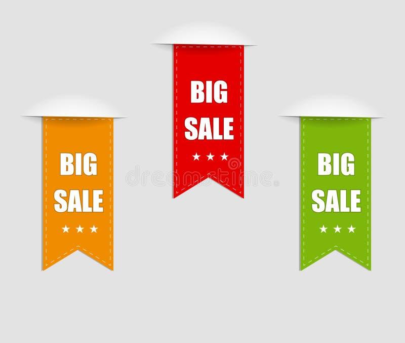 Sammlung des Verkaufs, Fahnen, Aufkleber, Umbauten, Tally Emblems, Karten, flacher Entwurf Vektor lizenzfreie abbildung