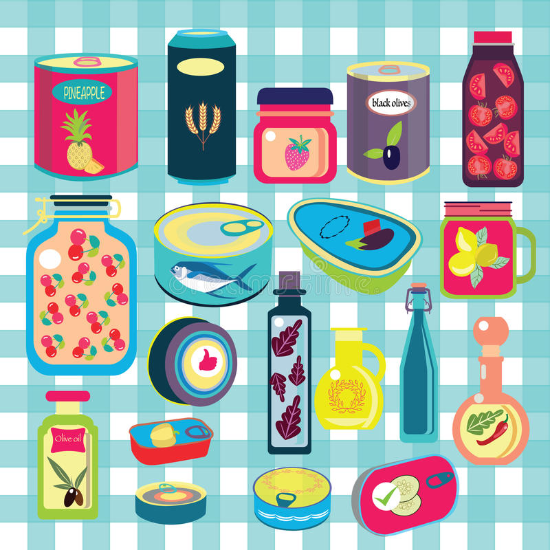 Sammlung des verschiedenen Zinnkonserven-Lebensmittelkanisters lizenzfreie abbildung