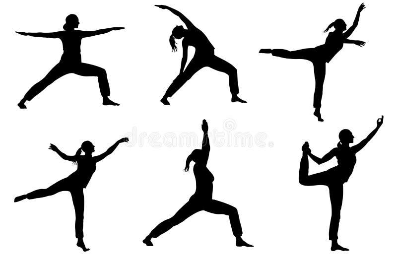 Sammlung des weiblichen Schattenbildes des Yoga lokalisiert auf weißem Hintergrund mit Beschneidungspfad lizenzfreie abbildung