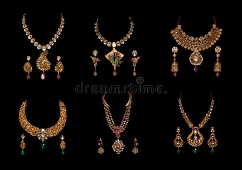Sammlung Diamant neclaces mit Ohrringen stockbilder