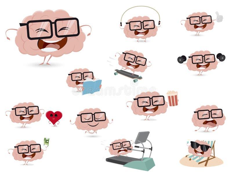 Sammlung eines lustigen Gehirns in den verschiedenen Situationen vektor abbildung