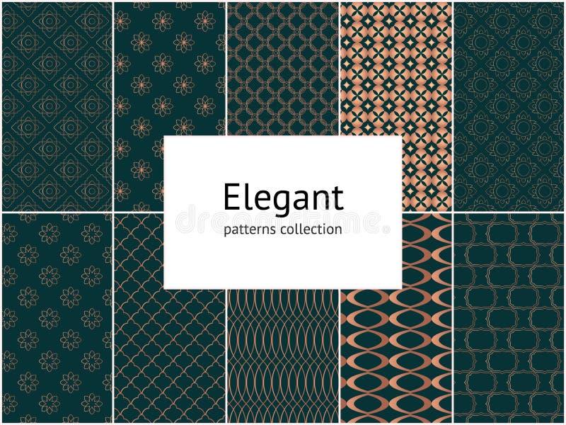 Sammlung elegante nahtlose Muster 10 mit Ziegeln deckende Vektorverzierungen stock abbildung