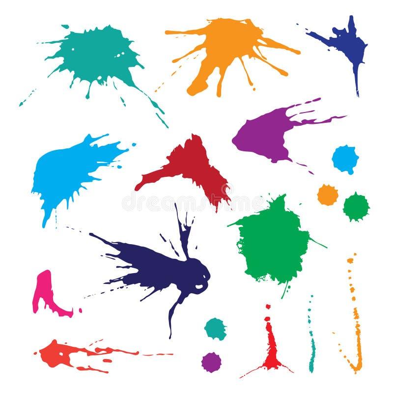 Sammlung Farbenspritzen Vektorsatz Bürstenanschläge Auf weißem Hintergrund stock abbildung