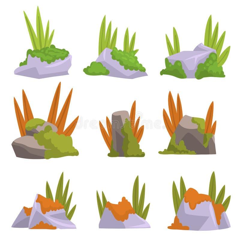 Sammlung Felsen-Steine mit Moos und Gras, Naturlandschafts-Gestaltungselement-Vektor-Illustration lizenzfreie abbildung