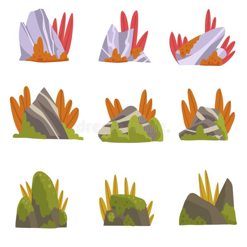 Sammlung Felsen-Steine mit Moos und Gras, Wald, Gebirgsnaturlandschafts-Gestaltungselement-Vektor-Illustration stock abbildung