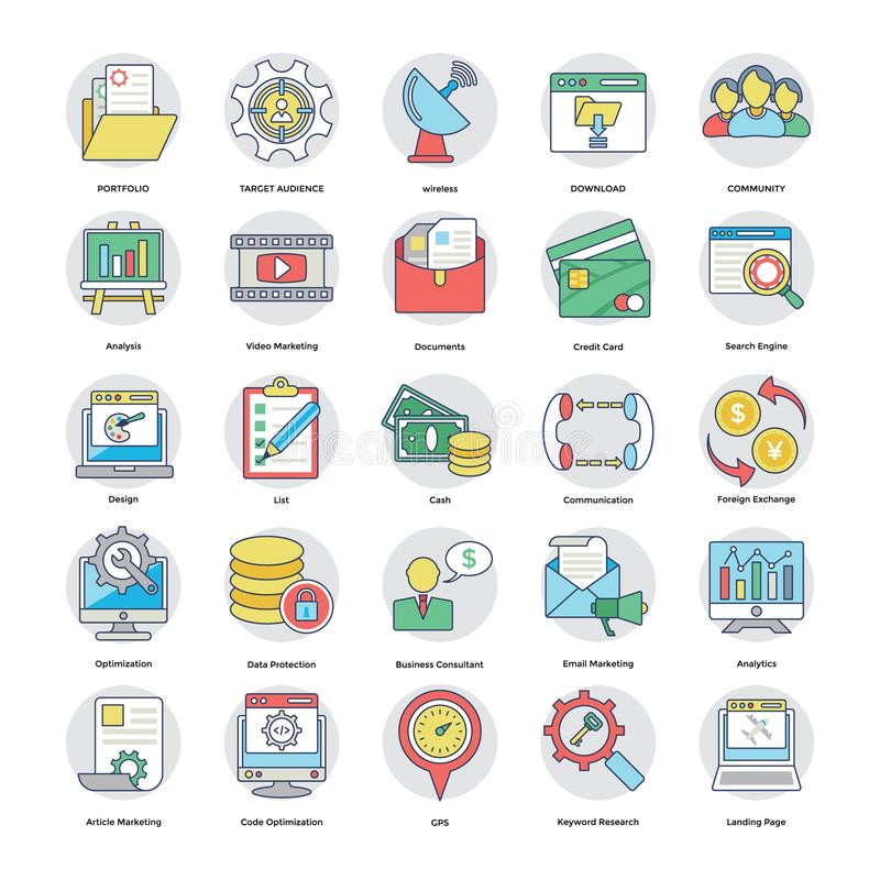 Sammlung flache Digital- und Internet-Marketing-Ikonen lizenzfreie abbildung