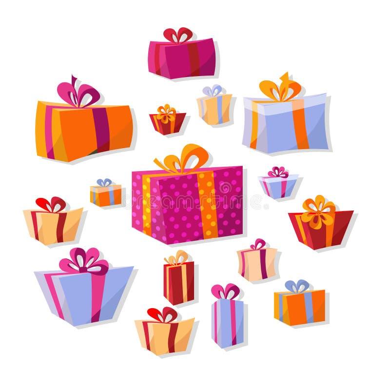 Sammlung flache Volumengeschenkboxen lokalisiert auf weißem Hintergrund Der helle Dekor des neuen Jahres und Weihnachtsin der Kar stock abbildung