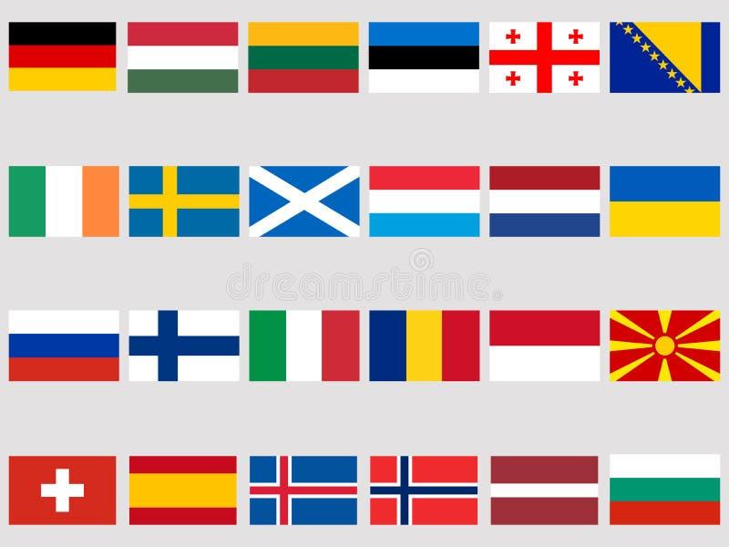 Sammlung Flaggen von europäischen Ländern auf einem weißen Hintergrund Kennzeichnen Sie Ikone set Vektor vektor abbildung