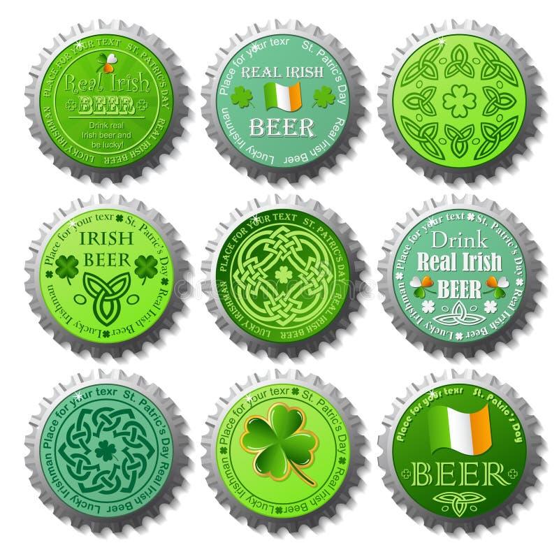 Sammlung Flaschenkapseln St. Patricks Tages lizenzfreie abbildung