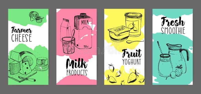 Sammlung Flieger mit Milchproduktanzeige - Landwirtkäse, Milch, Fruchtjoghurt, neue Smoothiehand an gezeichnet lizenzfreie abbildung