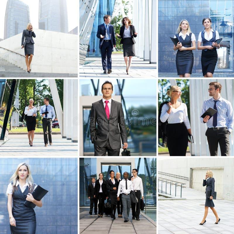 Sammlung Fotos mit vielen Wirtschaftlern stockbilder