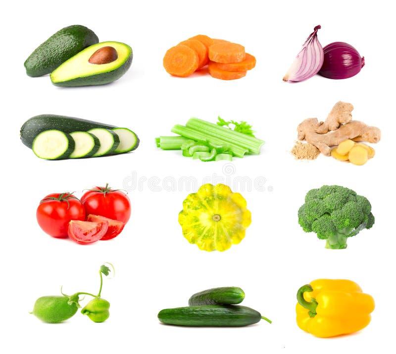 Sammlung Frischgemüse lokalisiert auf weißem Hintergrund Collage des saftigen und reifen Gemüses lokalisiert auf weißem Hintergru lizenzfreie stockfotografie