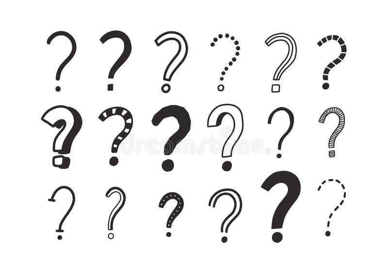 Sammlung Gekritzelzeichnungen von Fragezeichen Bündel Befragungspunkte übergeben an gezeichnet mit schwarzen Tiefenlinien lizenzfreie abbildung