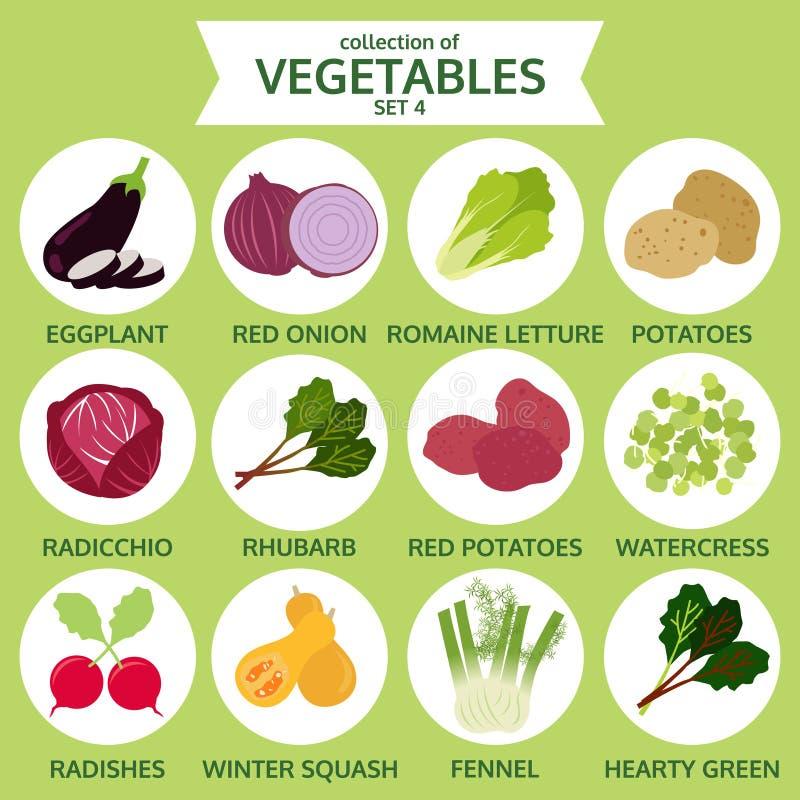 Sammlung Gemüse, Lebensmittelvektorillustration, Ikonenaufkleber stock abbildung