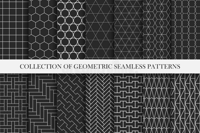 Sammlung geometrische nahtlose Vektormuster Symmetrischer minimaler Entwurf Wiederholbare Hintergründe in der Musterplatte lizenzfreie abbildung