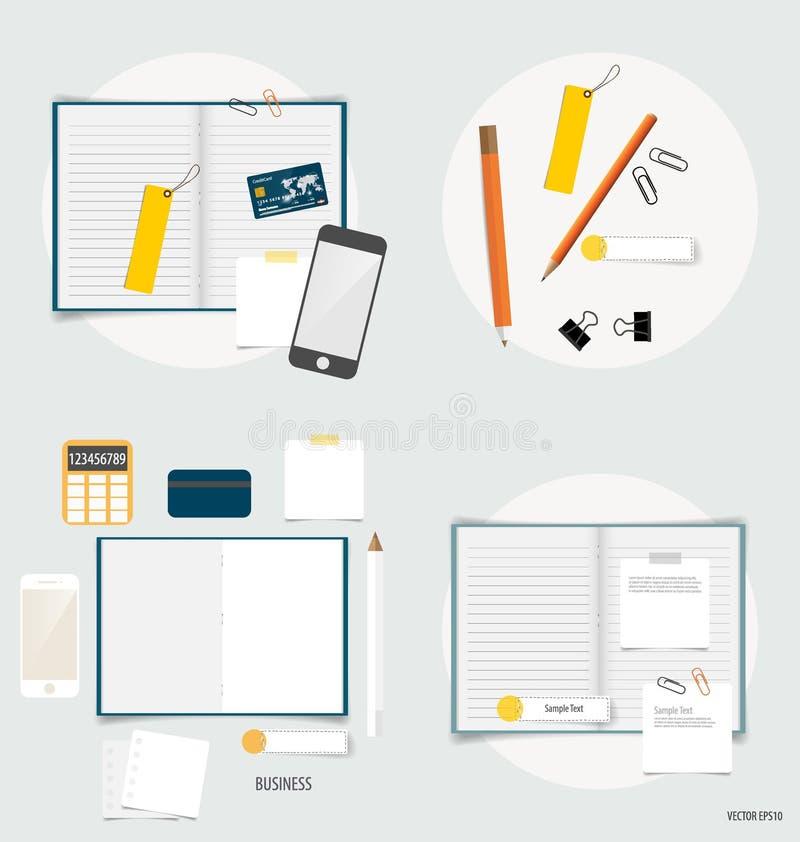 Sammlung Geschäftseinzelteile, verschiedene Papiere, Papierdesigne gelesen stock abbildung
