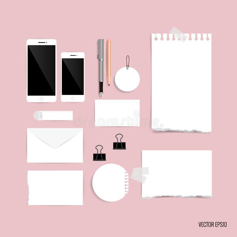 Sammlung Geschäftseinzelteile, verschiedene Papiere, Papierdesigne gelesen lizenzfreie abbildung