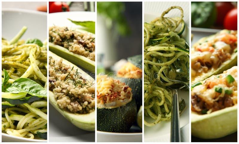 Sammlung geschmackvolle Teller mit Zucchini, Nahaufnahme stockbilder