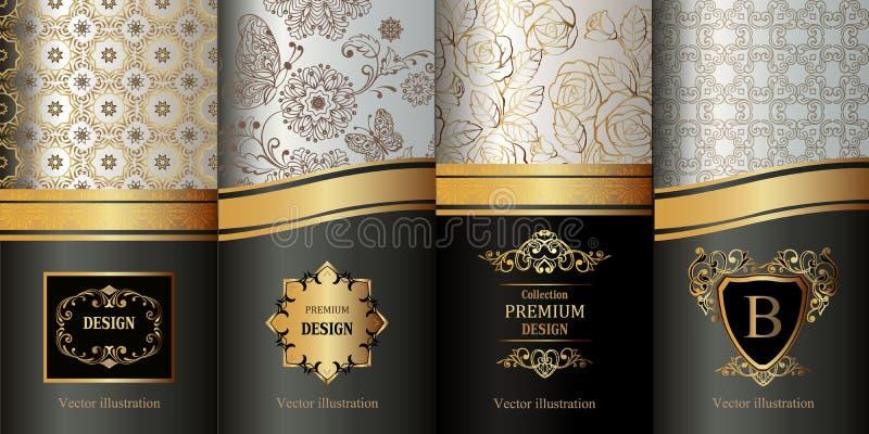 Sammlung Gestaltungselemente, Aufkleber, Ikone, gestaltet, für das Verpacken, Luxushintergrund stock abbildung