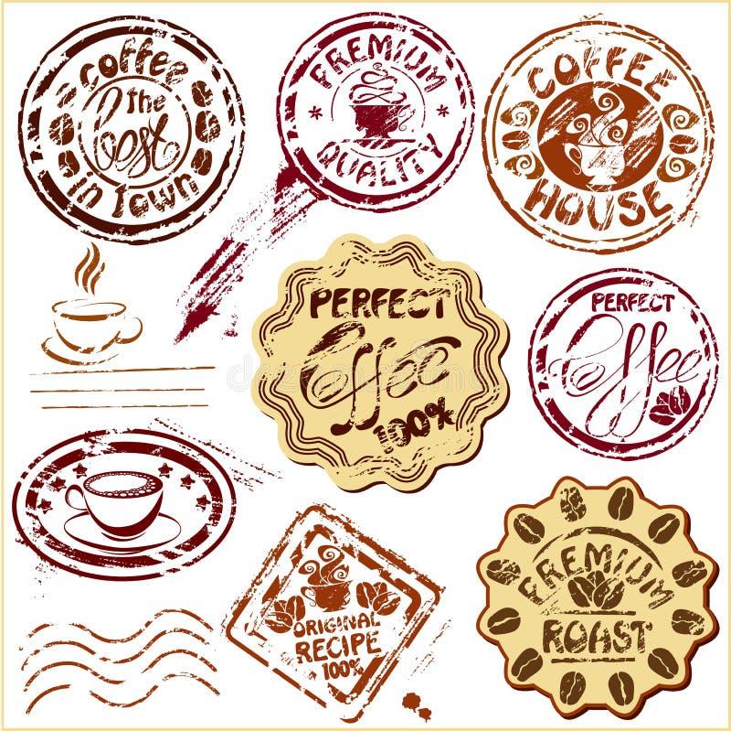 Sammlung Gestaltungselemente - Kaffeetasseikonen, stock abbildung