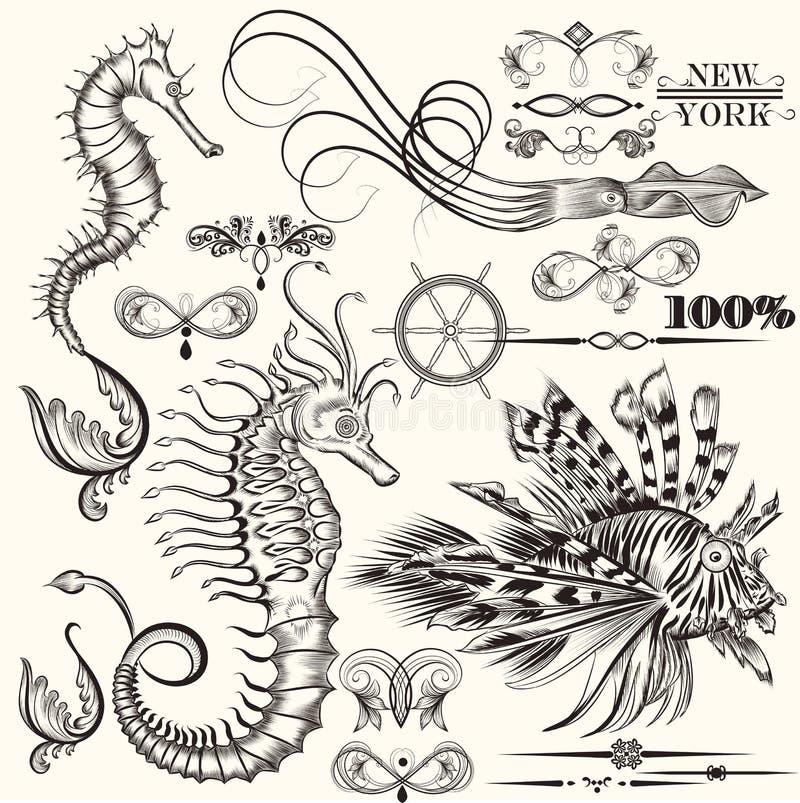 Sammlung gezeichnete Elemente des Vektors Hand See stock abbildung