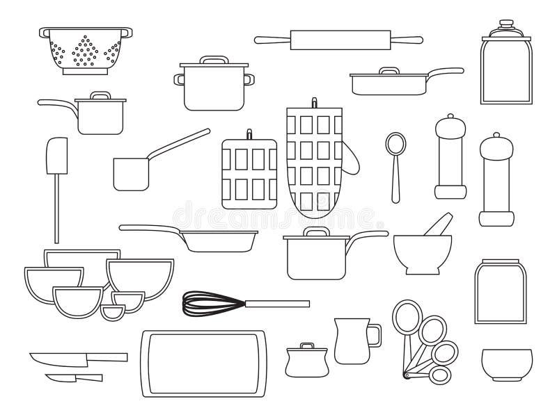 Sammlung Glaswarenküchengeschirr und Kochgeschirrsatz Küchengeräte für Hausmannskost, flache Vektorillustration, Entwurfsschwarze vektor abbildung