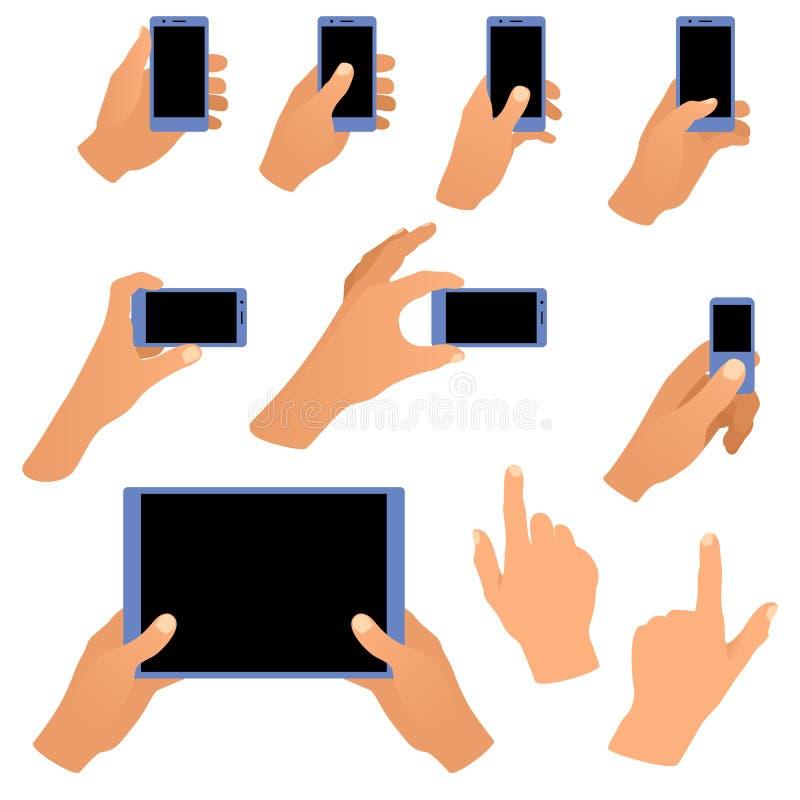 Sammlung Hände, die Telefon und Tablette halten lizenzfreie stockbilder