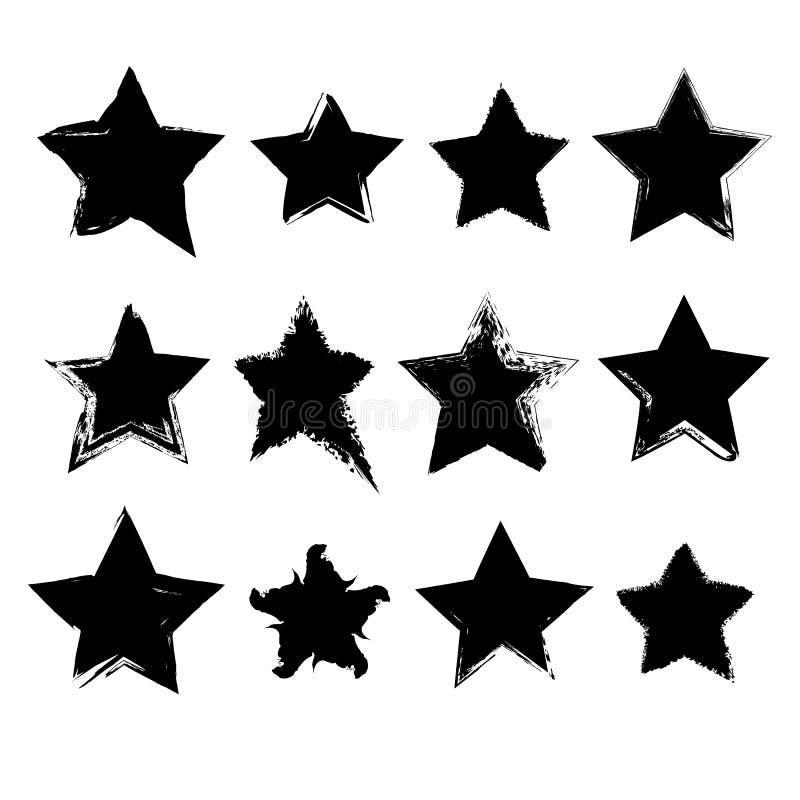 Sammlung Hand gezeichnete Sterne stock abbildung