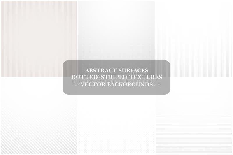 Sammlung helle abstrakte Hintergründe Vektor punktiert, gestreifte weiße Beschaffenheiten Leere Oberflächen für Ihr Design vektor abbildung
