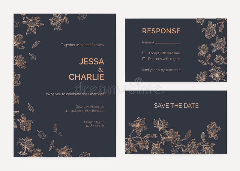Sammlung Hochzeitseinladungs- und -wartekartenschablonen, die durch Magnolienbaumaste mit dem Blühen verziert werden, blüht stock abbildung