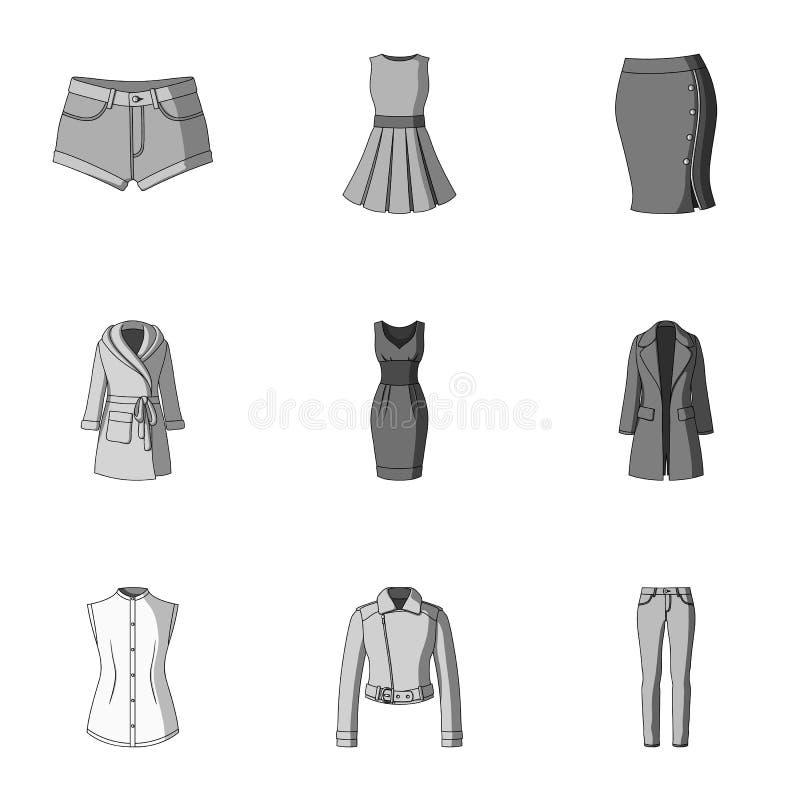 Sammlung Ikonen der Kleidungs der Frauen Verschiedenes Frauen ` s kleidet für Arbeit und geht, Sport Frauenkleidungsikone im Satz lizenzfreie abbildung