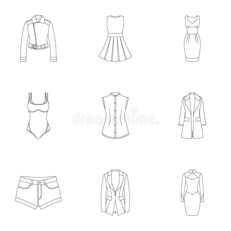 Sammlung Ikonen der Kleidungs der Frauen Verschiedenes Frauen ` s kleidet für Arbeit und geht, Sport Frauenkleidungsikone im Satz stock abbildung