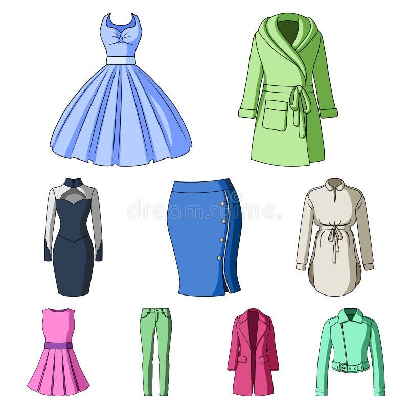 Sammlung Ikonen der Kleidungs der Frauen Verschiedenes Frauen ` s kleidet für Arbeit und geht, Sport Frauenkleidungsikone im Satz vektor abbildung