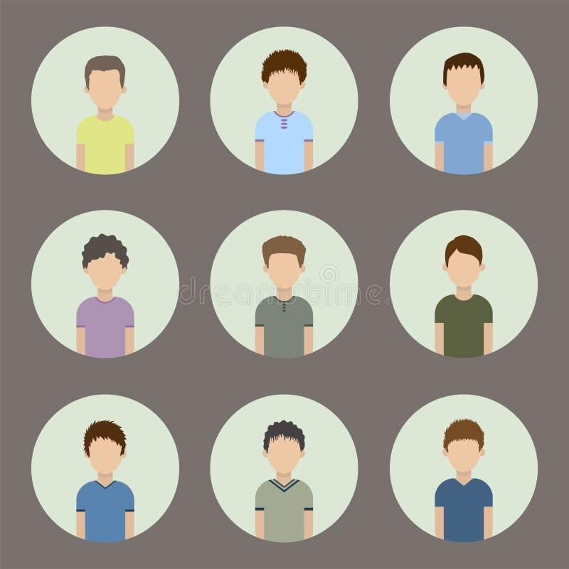 Sammlung Ikonen von Männern in einer flachen Art Männliche Avataras lizenzfreie abbildung