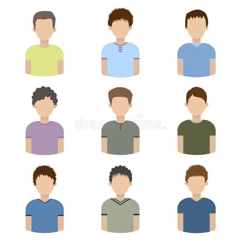 Sammlung Ikonen von Männern in einer flachen Art Männliche Avataras Satz Bilder von jungen Männern Vektor lizenzfreie abbildung