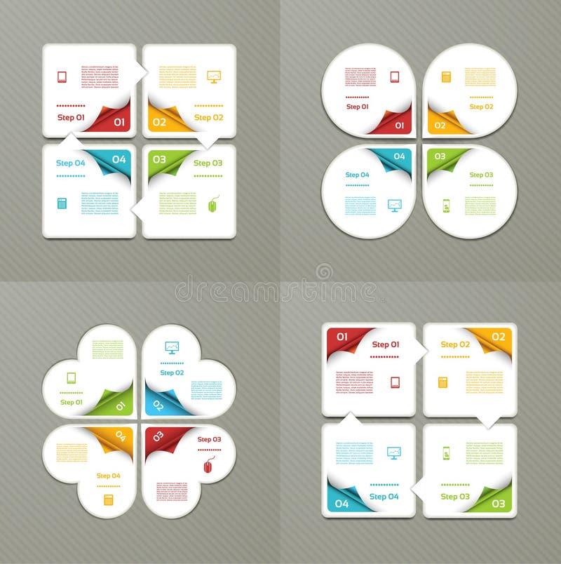 Sammlung Infographic-Schablonen für Geschäft Vier Schritte, die Diagramme radfahren Auch im corel abgehobenen Betrag lizenzfreie abbildung
