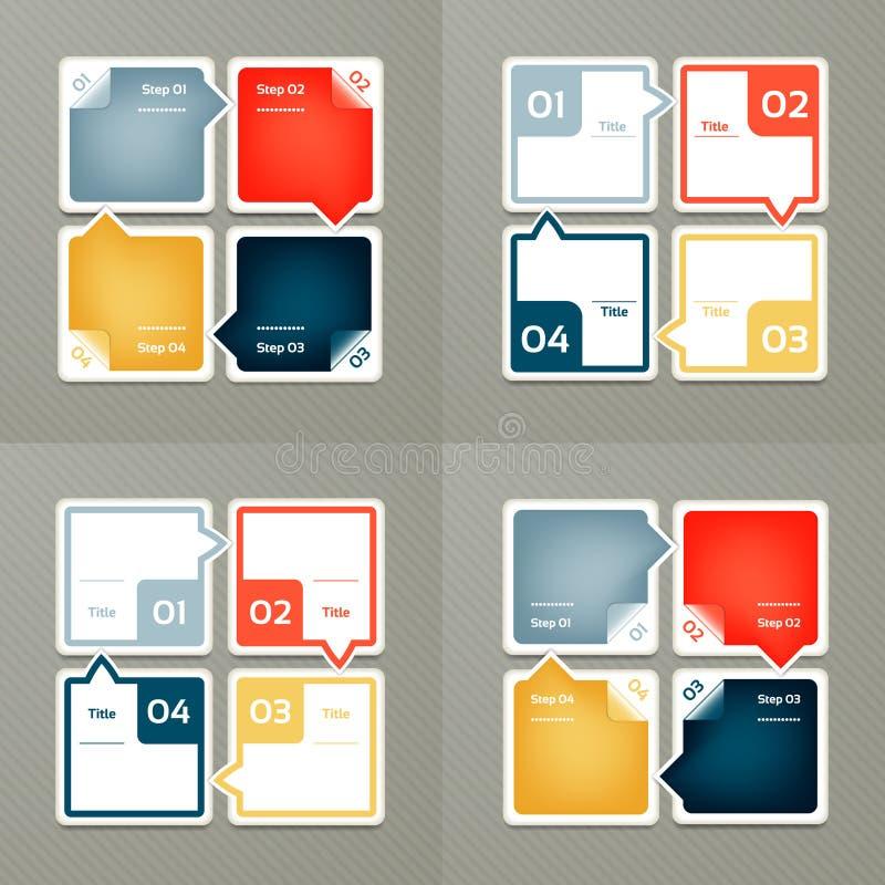 Sammlung Infographic-Schablonen für Geschäft Vier Schritte, die Diagramme radfahren Auch im corel abgehobenen Betrag vektor abbildung