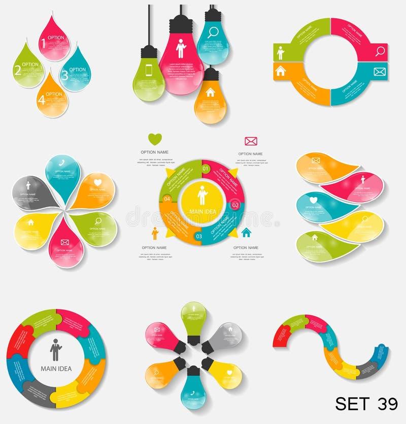 Sammlung Infographic-Schablonen für Geschäfts-Vektor Illustra lizenzfreie abbildung