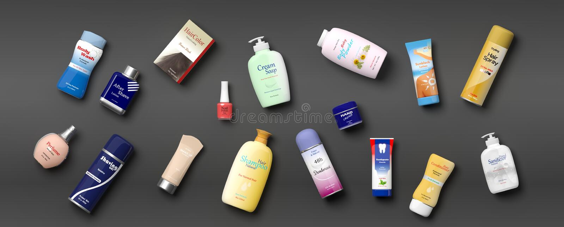 Sammlung Körperpflege productss - grauer Hintergrund Abbildung 3D stock abbildung