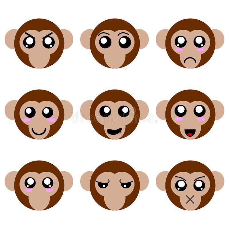 Sammlung Karikatur-Affe-Gesichter lokalisiert auf weißem Hintergrund Verschiedene Gefühle, Ausdrücke Vektor illustation vektor abbildung