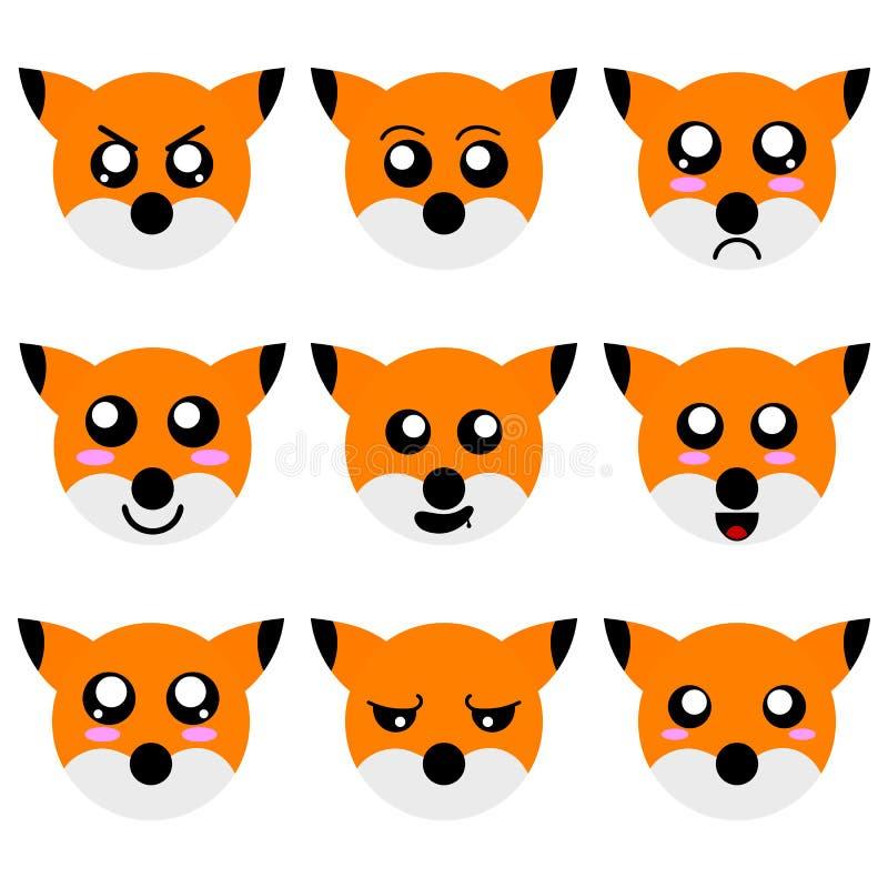 Sammlung Karikatur Fox stellt lokalisiert auf weißem Hintergrund gegenüber Verschiedene Gefühle, Ausdrücke Vektor illustation vektor abbildung