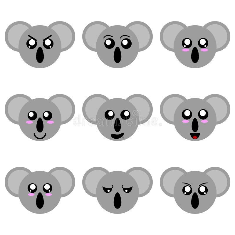 Sammlung Karikatur-Koala-Gesichter lokalisiert auf weißem Hintergrund Verschiedene Gefühle, Ausdrücke Vektor illustation vektor abbildung