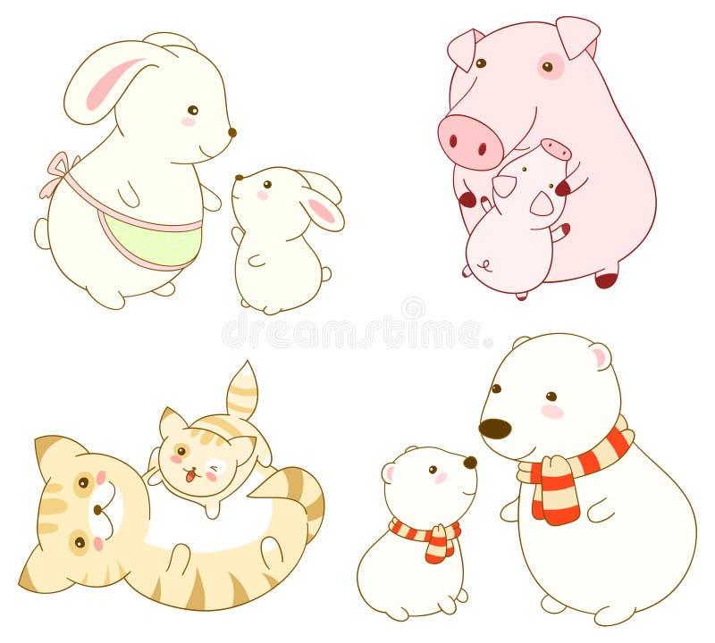 Sammlung Karikaturtiere in kawaii Art stock abbildung