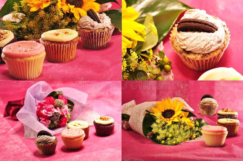 Sammlung kleine Kuchen mit Blumen lizenzfreie stockfotografie